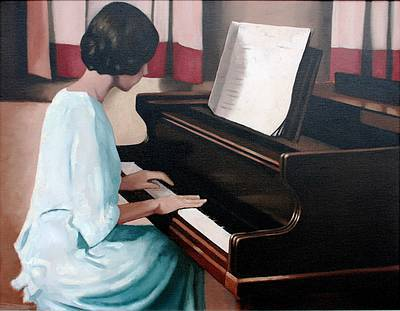 Irish Artist Brian SMYTH - Girl at a Piano