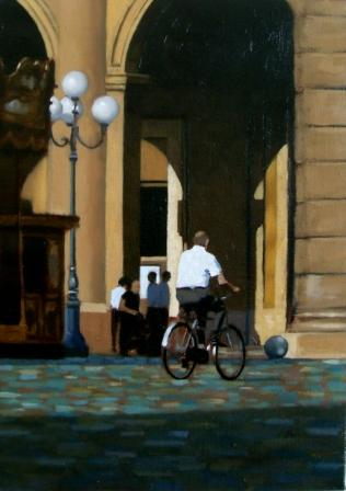 Irish Artist Brian SMYTH - Crossing The Piazza