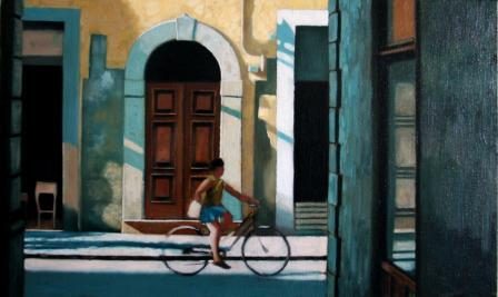 Florence Cycle Lane painting by artist Brian SMYTH