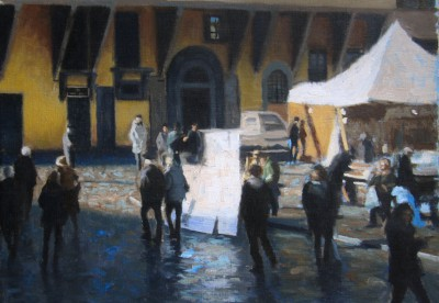 Winter Market, Florence painting by artist Brian SMYTH
