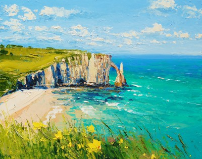 Etretat in Summer Light painting by artist Colin CARRUTHERS