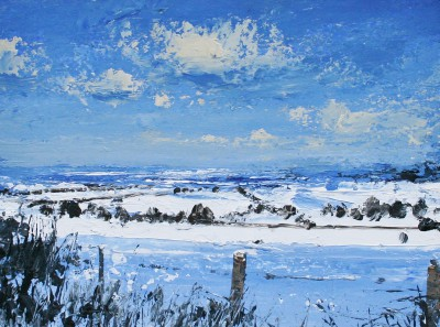 Winter Morning, Field Edge painting by artist Colin CARRUTHERS