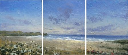 Irish Artist Colin CARRUTHERS - Sea Holly - triptych