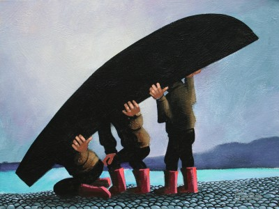 Three Men and a Currach painting by artist George CALLAGHAN