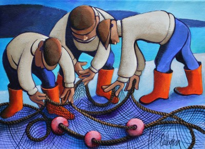 Mending the Nets painting by artist George CALLAGHAN