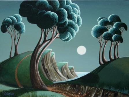 George CALLAGHAN - Antrim Coast, Moonlight on the Water