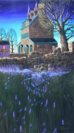 Irish Artist George CALLAGHAN - Gable End, Bluebells