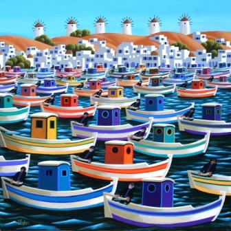 Irish Artist George CALLAGHAN - Mykonos, Greek Fishing Boats