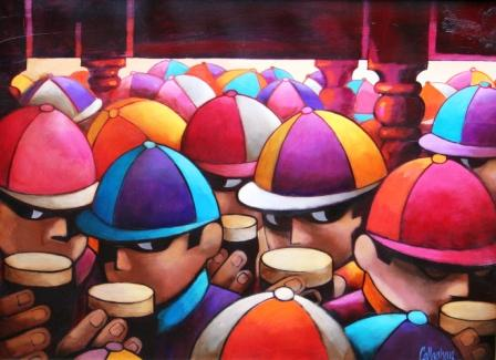 Irish Artist George CALLAGHAN - After the Races