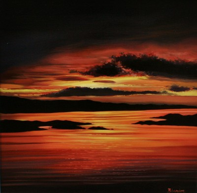 'Golden Hour on the Golden Road, Harris' painting