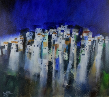 Irish Artist Manus WALSH - Mountain Pueblo, Andalucia