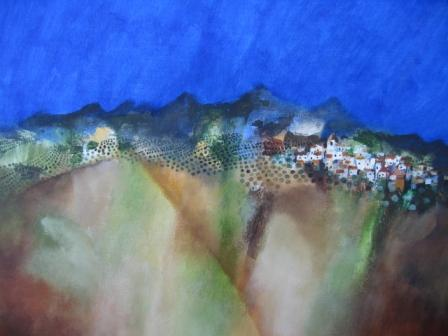 Irish Artist Manus WALSH - Pueblo Blanco Beneath The Hills