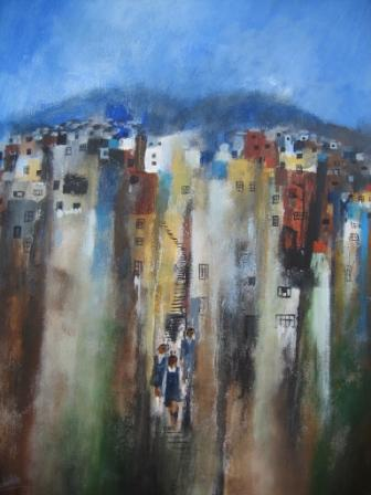 On Cerro Mariposa, Valparaiso painting by artist Manus WALSH