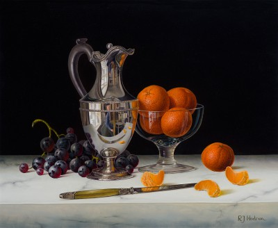 Silver Flagon with Black Grapes and Mandarins