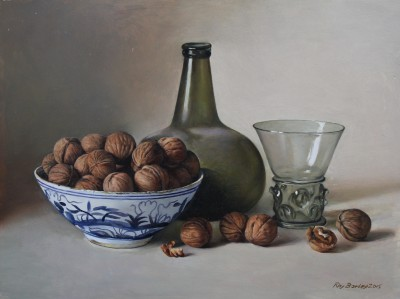 Onion Bottle and Walnuts in a Chinese Bowl