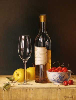 Chateau d'Yquem with apples and cherries