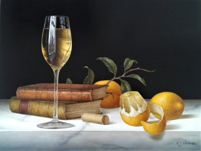 'White Wine with Peeled Lemon and Books' painting