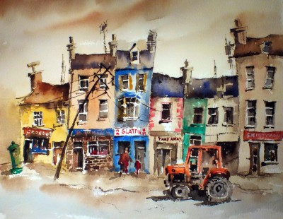 Slatts in Ennistymon painting by artist Val BYRNE