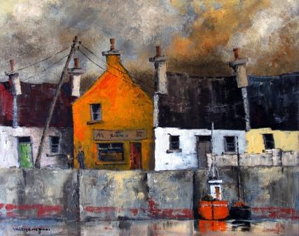 Irish Artist Val BYRNE - Yellow Gable, Kilronan