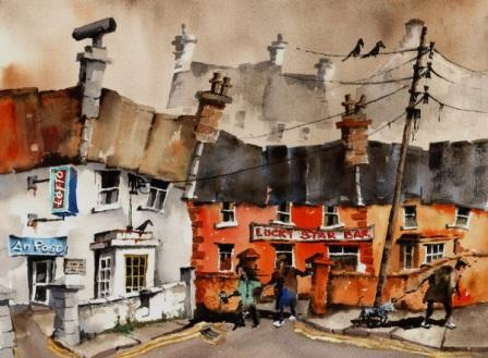 Irish Artist Val BYRNE - Escaping from the Lucky Star Bar, Aran