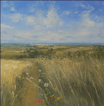 Irish Artist Colin CARRUTHERS - Field Edge, Flowers